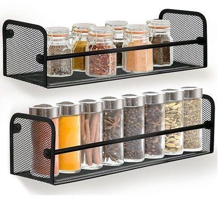 greenco wall mount single tier mesh spice rack black set 2 rh za pinterest com