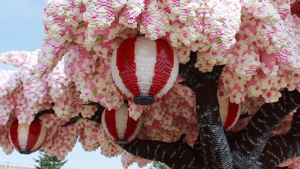 The World S Largest Lego Cherry Blossom Tree Blooms In Japan Cherry Blossom Tree Blossom Trees Pink Blossom Tree