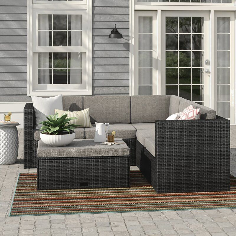 Sol 72 Outdoor Abel 4 Piece Rattan Sectional Seating Group With Cushions Birch Lane In 2020 Outdoor Sofa Sets Outdoor Furniture Sets Outdoor Sofa