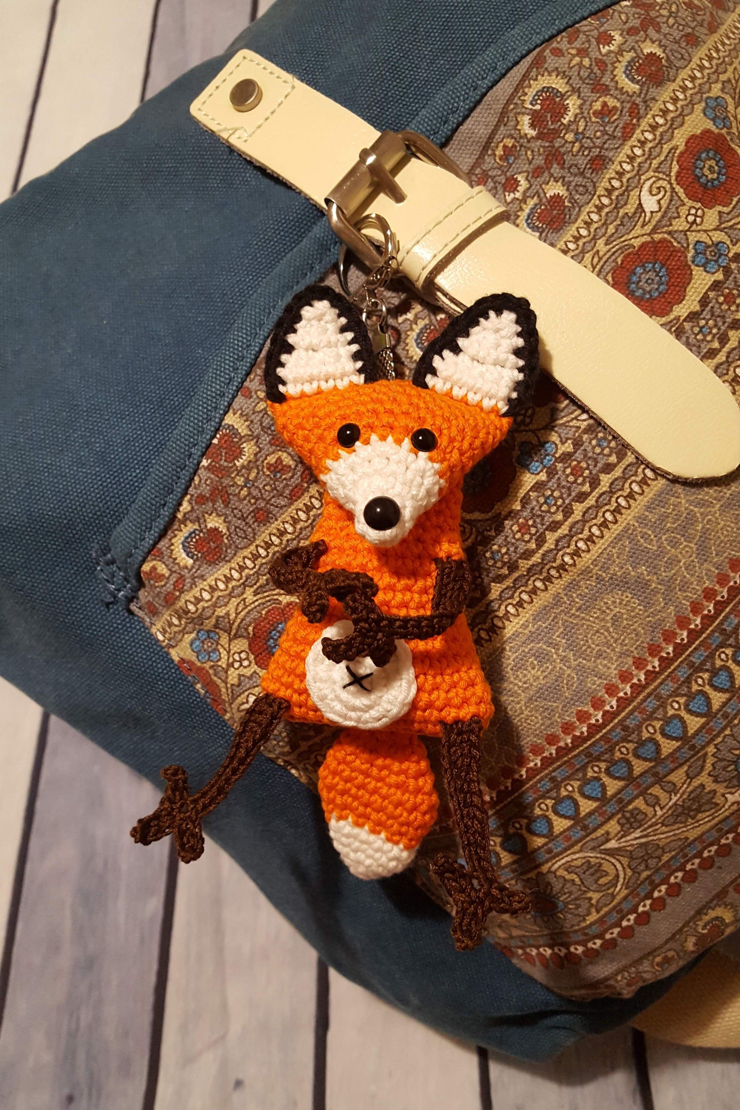 "6"" Fox backpack charm Fox stuffed toy Amigurumi sly"