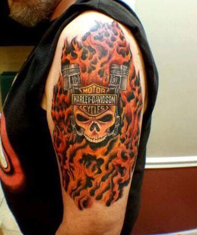 No 10 harley davidson skull flames tattoo tattoos for Harley skull tattoos