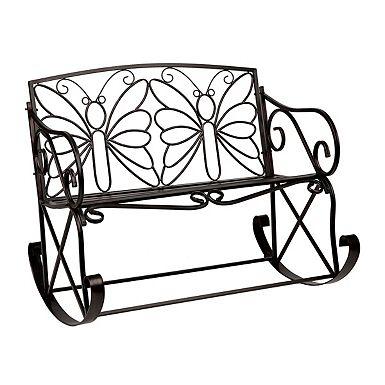 product details black butterfly outdoor metal bench rocker rh pinterest com
