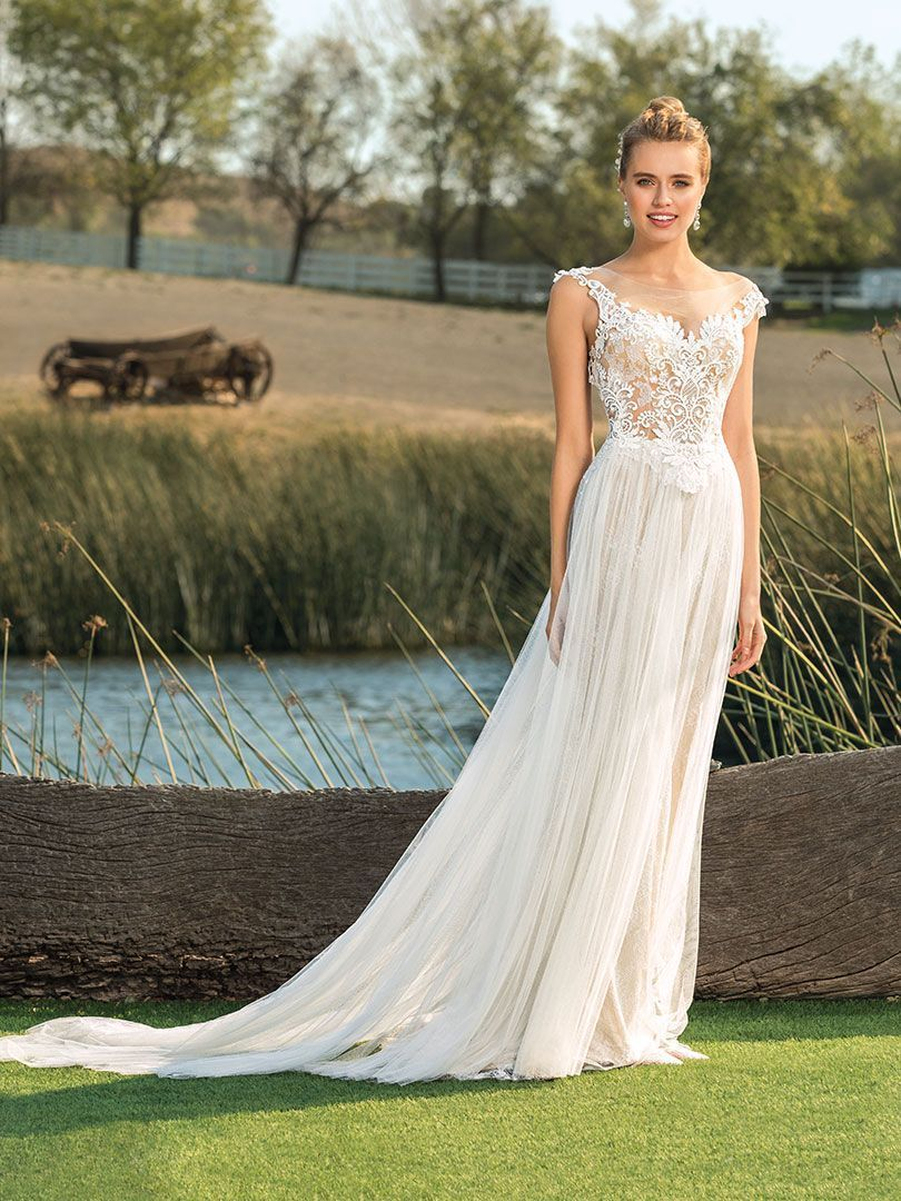 f726e65a24371 STYLE BL278 SELAH | Affordable Wedding Dress by Beloved by Casablanca Bridal  | Sheer is the story when it comes to Style BL278. The sheer soft tulle  overlay ...