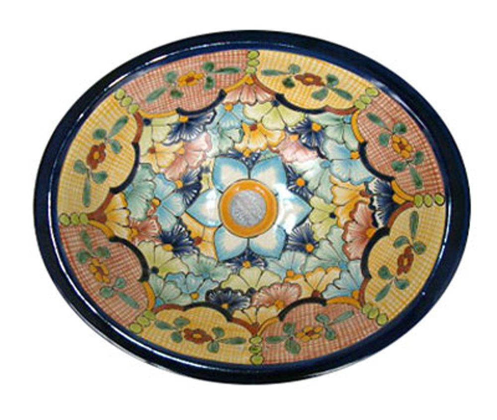 #134 LARGE BATHROOM SINK 21X17 MEXICAN CERAMIC HAND PAINT DROP IN UNDERMOUNT