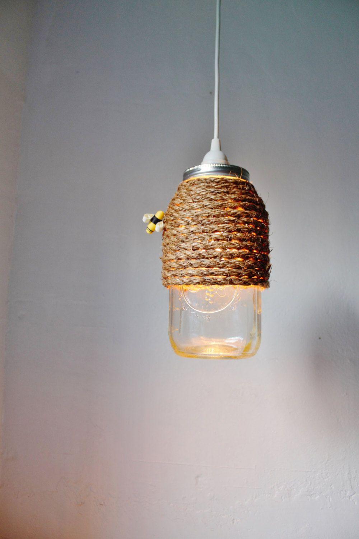 The Hive Mason Jar Pendant Lamp Hanging
