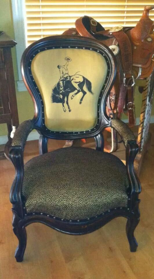 Hand Painted Canvas Backed Antique Chair With Nail Head Details And Leopard Print Upholstery Kathy Wooll Patterned Armchair Antique Chairs Kids Rocking Chair