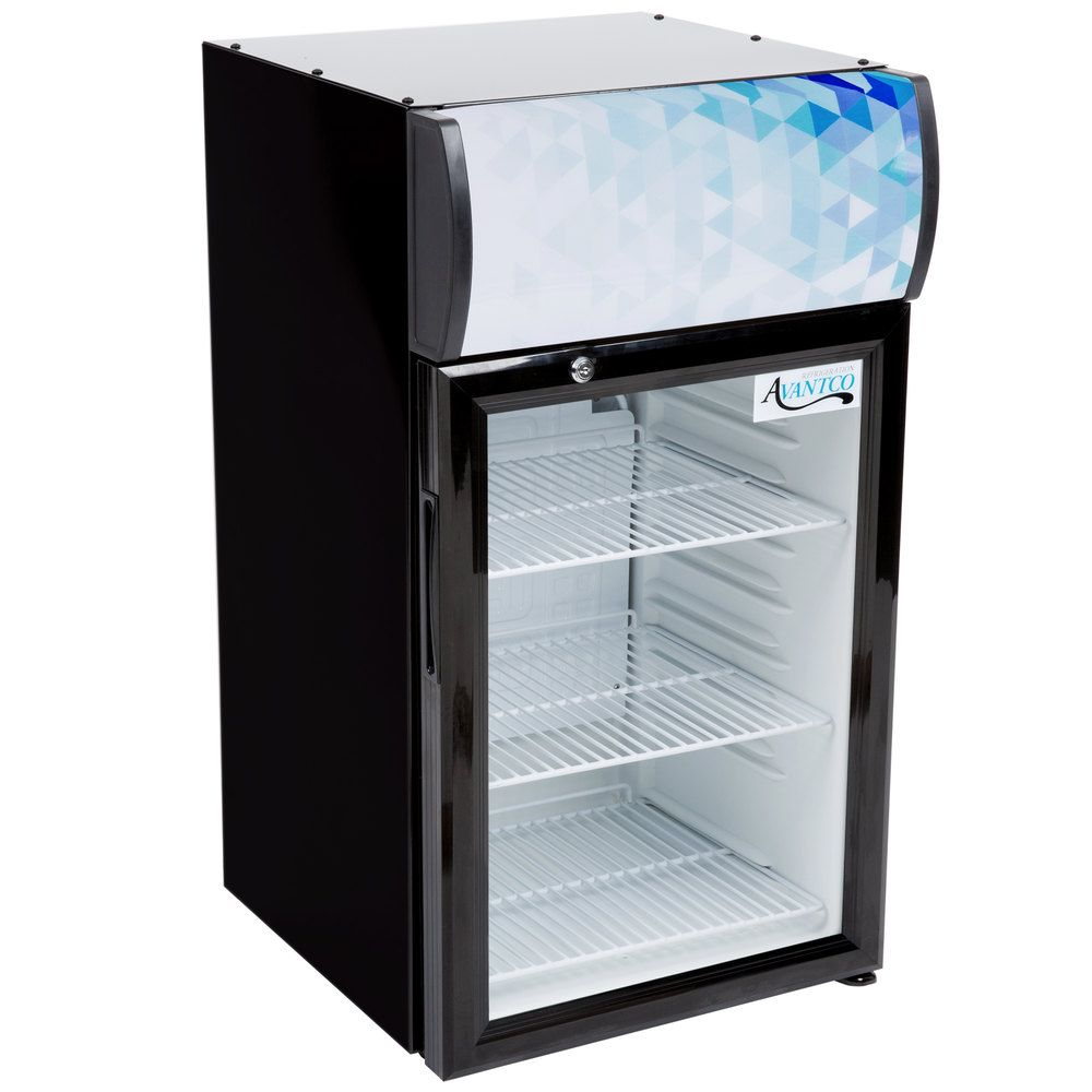 Avantco Sc 52 Black Countertop Display Refrigerator With Swing