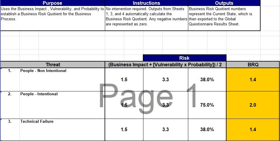 Business Impact Analysis Template Excel Business Impact