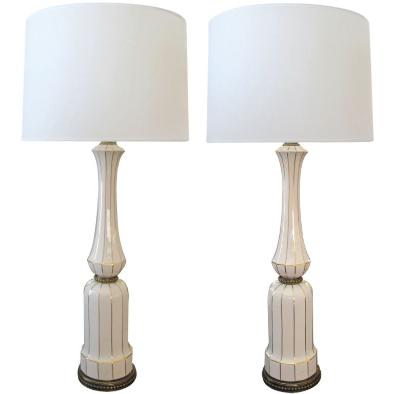 a tall pair of american 1960 s ivory porcelain baluster form lamps rh pinterest com