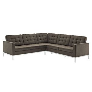 Loft L-Shaped Wool Sectional Sofa in Chocolate
