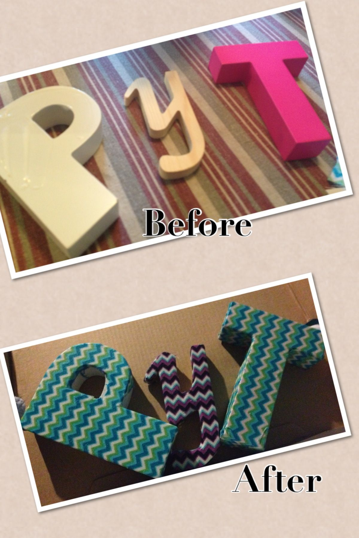 Mod Podge And Fabric On Block Letters