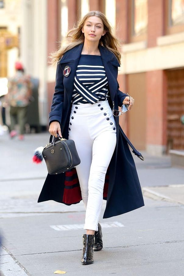 1824ceb1a52e0c Gigi Hadid wearing Tommy Hilfiger White Sailor Pants