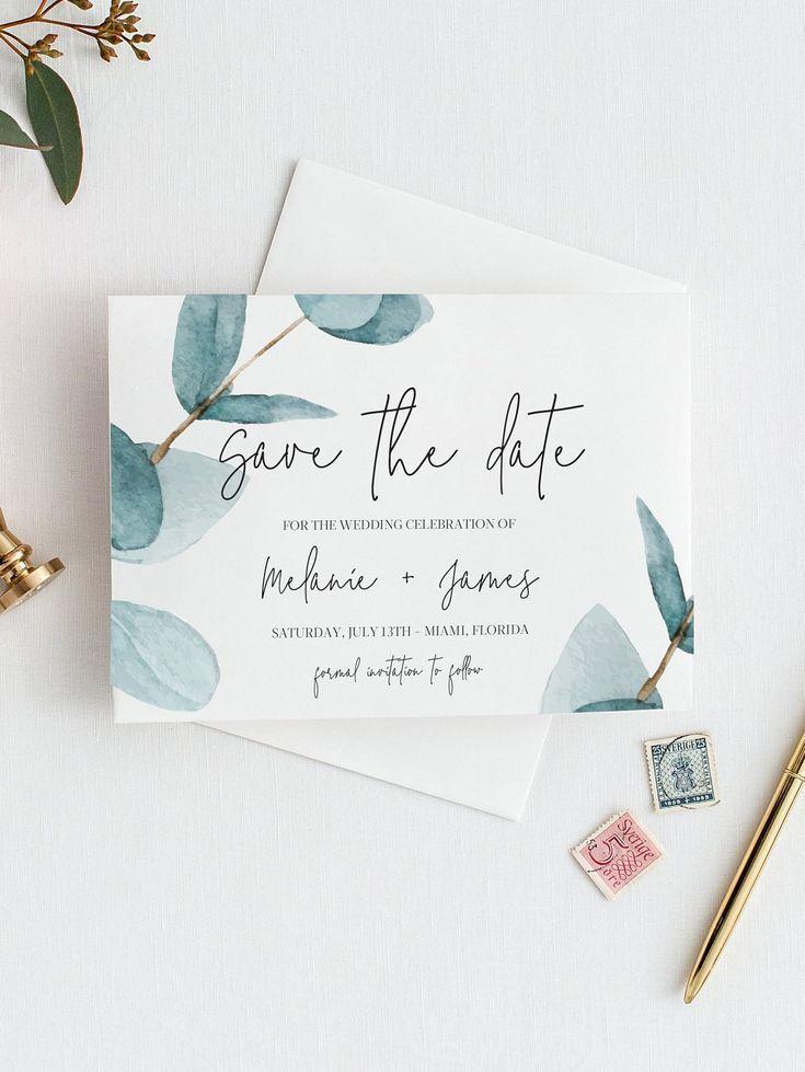 Eucalyptus Save the Date Template invitation, Save The Date Greenery, Printable Save The Date, Save