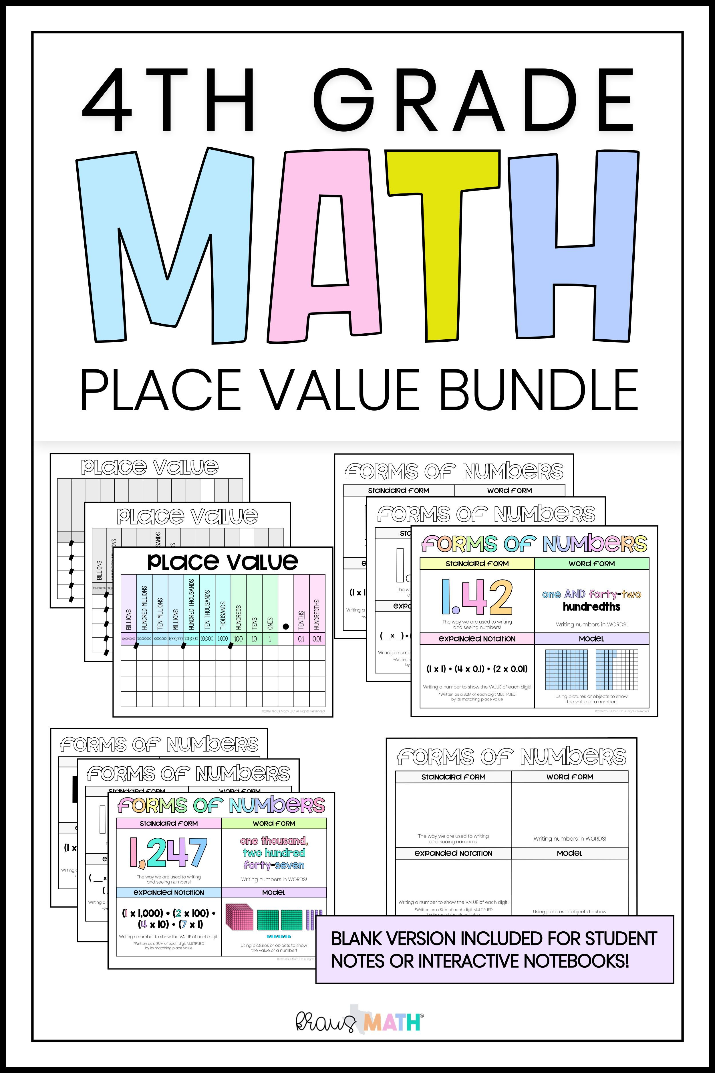 4th Grade Place Value Amp Forms Of Numbers Bundle