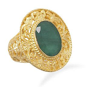Ornate Gold Ring with Emerald Stone by Salerno's Jewelry Stores on Opensky