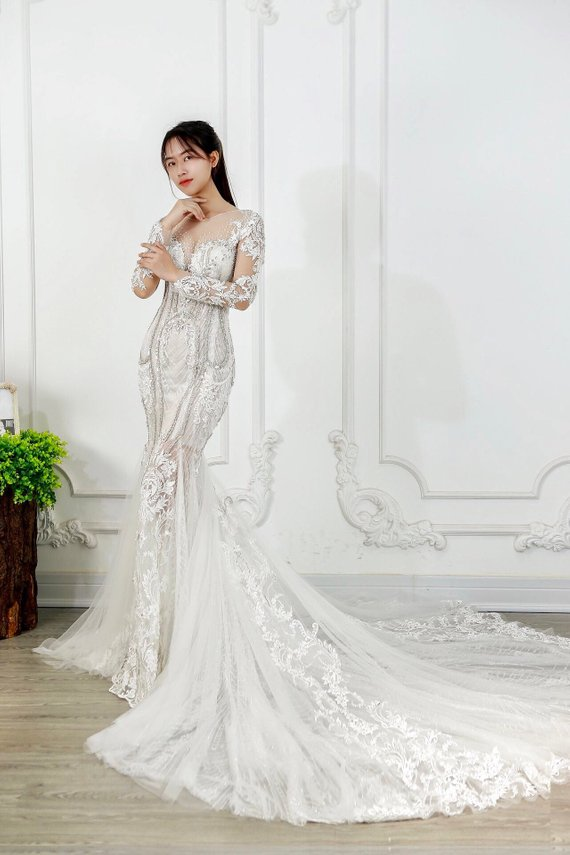 3a3de0edbf Mermaid Wedding Dress Long Sleeves Luxury Bridal Gown Glam and Bling ...
