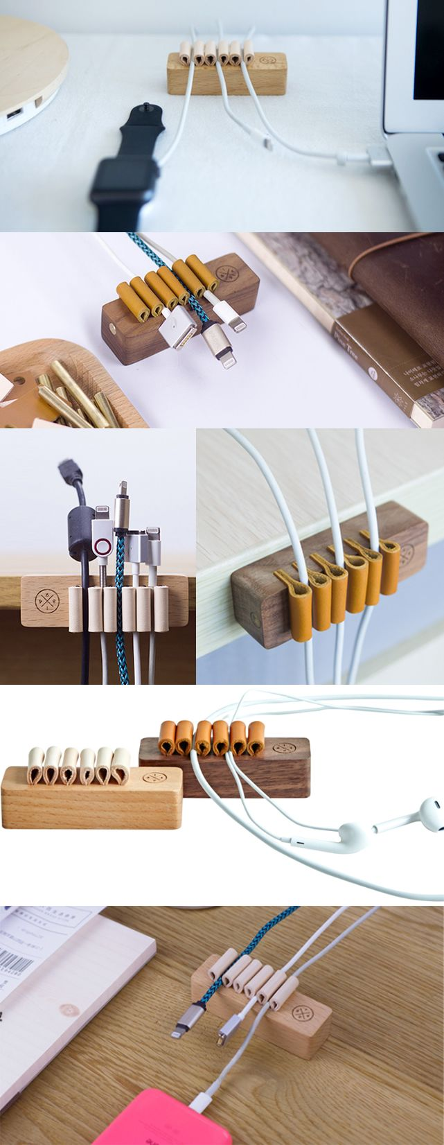 Wooden Wood Desk Cord Cable Clip Holder Cord Organizer Manager Management System Power Cords And Charging Cable