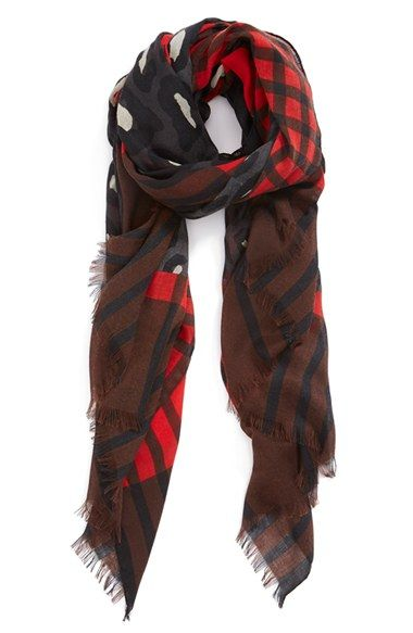 Halogen® 'Leopard Plaid' Scarf | Nordstrom in the color red/gray