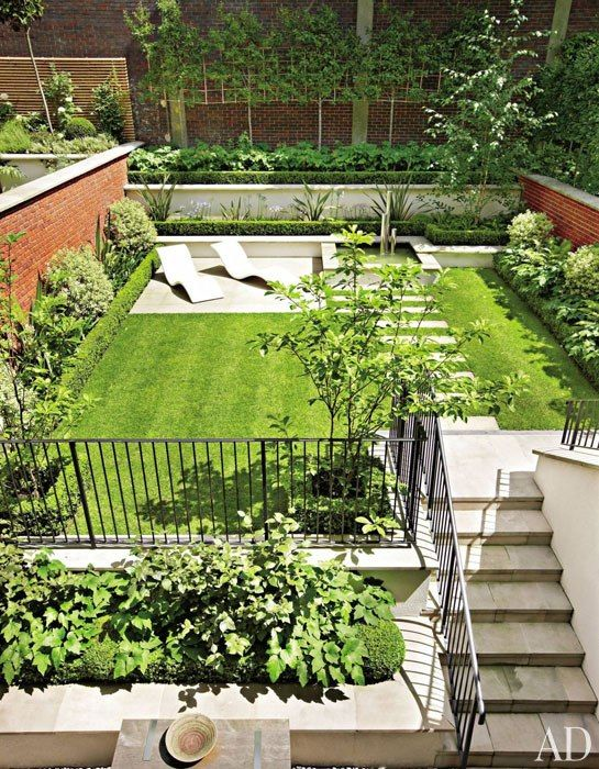 Manicured Back Yard Of A Townhouse In London, England, Garden