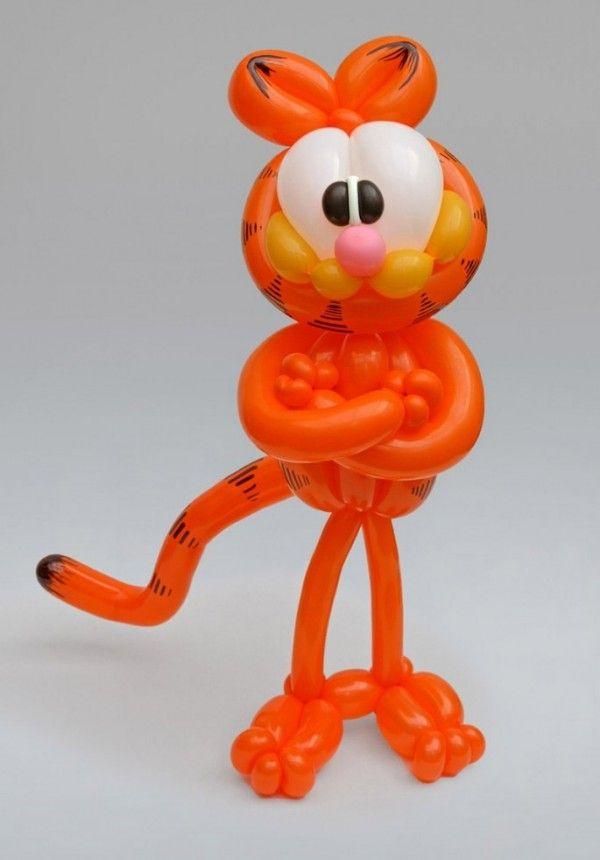 Garfield hecho con globos Decoración con globos Pinterest