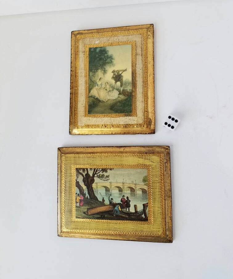 two mini gilt framed art made in italy frames tiny gold frames by sissyboomspartyroom on etsy - Mini Gold Frames
