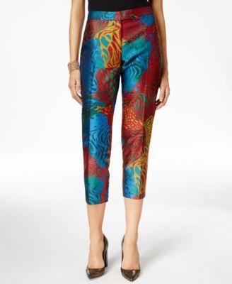 Anne Klein Jacquard-Print Slim-Leg Pants-$74.99