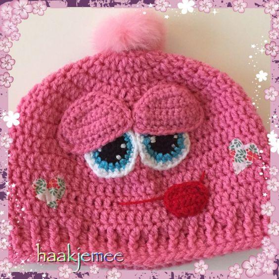 Roze smiley muts haakpatroon - Haak je mee | Crochet Hats ...