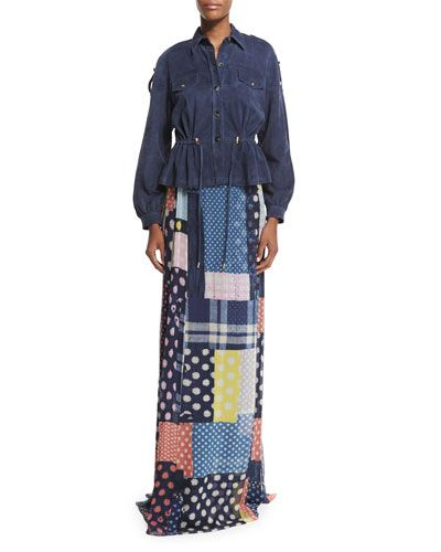 DIANE VON FURSTENBERG Diane Von Furstenberg Bethune Patched Dots Silk Maxi Skirt. #dianevonfurstenberg #cloth #
