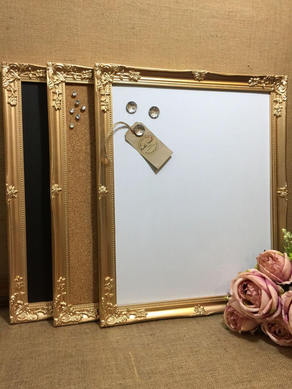 Set of 3 GOLD Ornate Framed Notice Boards Gold Metallic Frame ...
