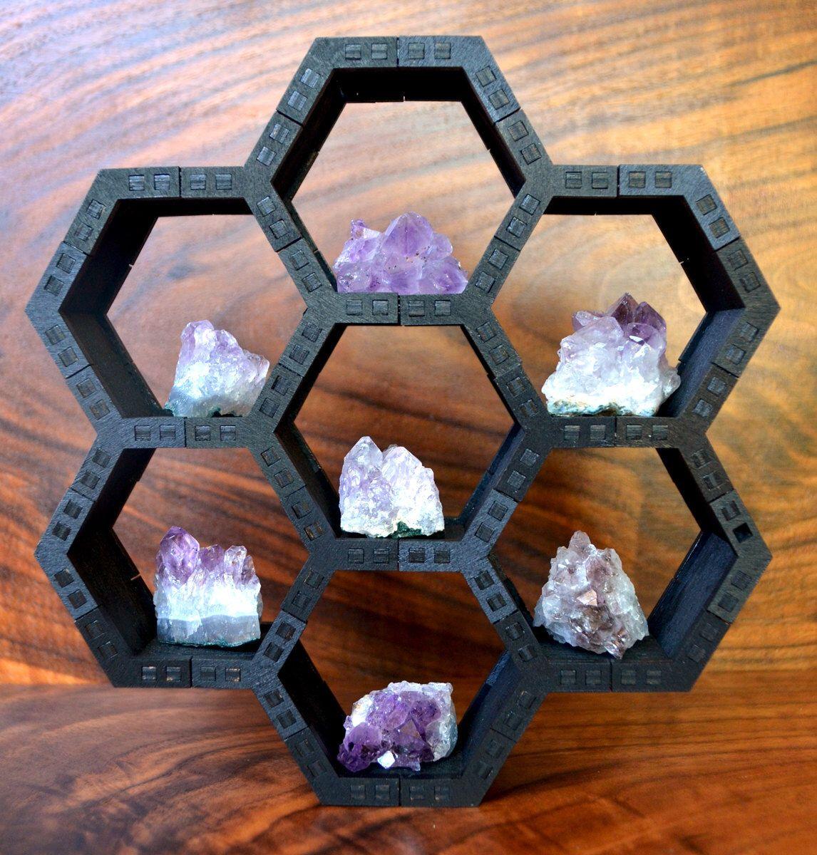 Diy Honeycomb Cube Grid Shelf Display Sacred Geometry