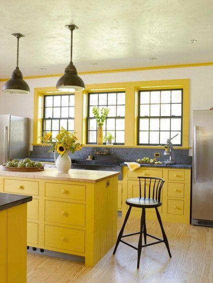 Cocinas en color amarillo Cocinas luminosas, Amarillo y Cocinas