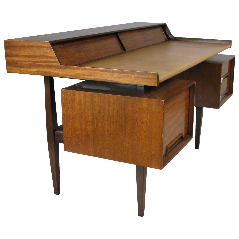 Vintage 1950s Modern Walnut And Leather Writing Desk Modern