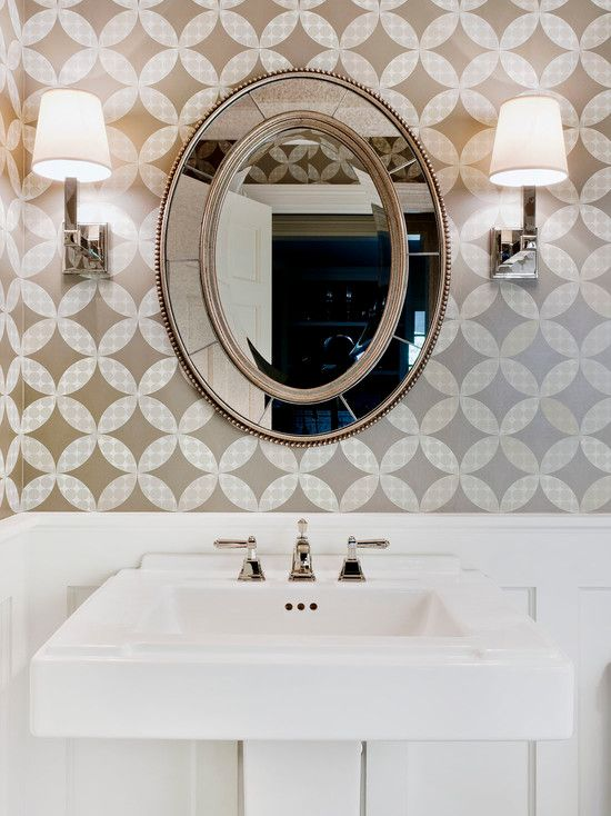 Traditional Powder Room Wallpaper With Artistic Pattern Design Also White  Classc Sink And Classic Faucet