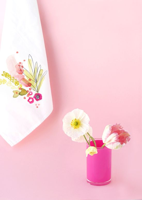 DIY Watercolor Linen Tutorial with FREE Floral Pattern