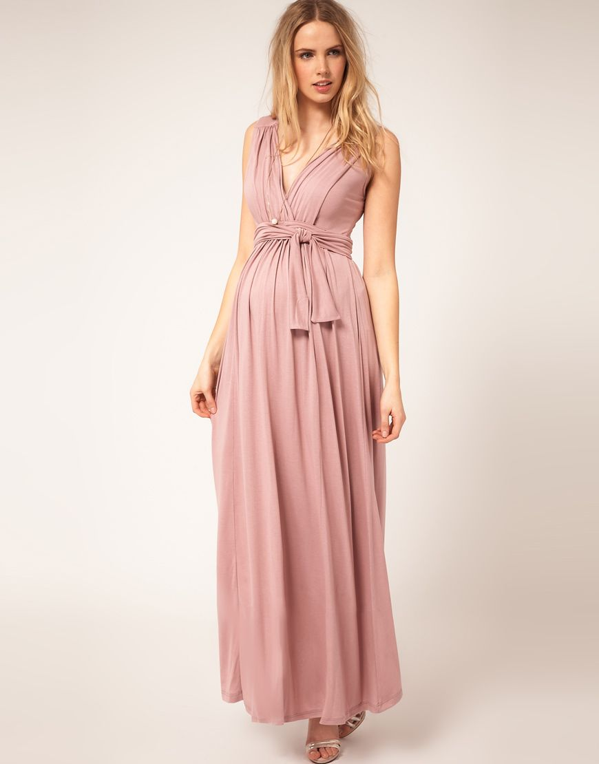 Maternity Exclusive Maxi Dress with Grecian Drape Detail | Pinterest ...