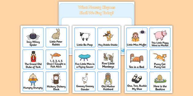 Nursery Rhyme Choosing Cards 3 Year Old Activities