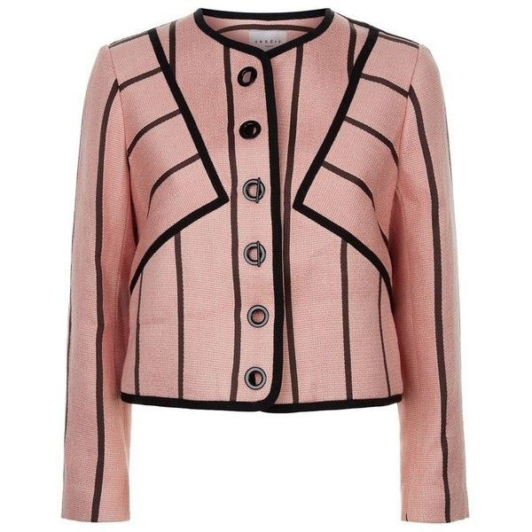 Sandro Valentine Tweed Jacket (€475) ❤ liked on Polyvore featuring outerwear, jackets, pink tweed jacket, pink cropped jacket, tweed jacket, cropped tweed jacket and pink jacket