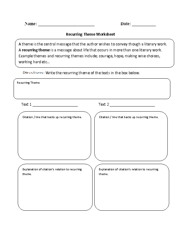 Recurring Theme Worksheet | Theme, tone, setting snd characters ...