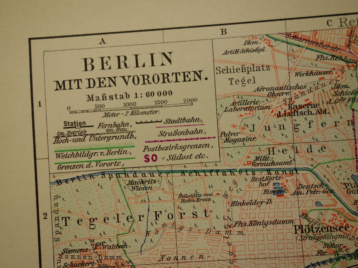 Old map of Berlin and surroundings 1906