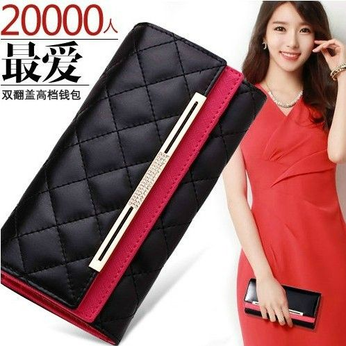 stacy bag good quality brand hot sale women fashion wallet female plaid new design wallets lady day clutches leather purses $14.00