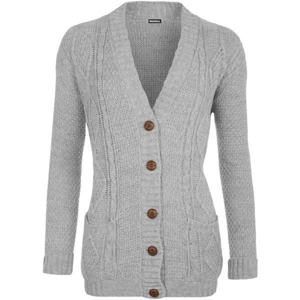 WearAll Cable Knit Boyfriend Cardigan (£18) ❤ liked on Polyvore ...