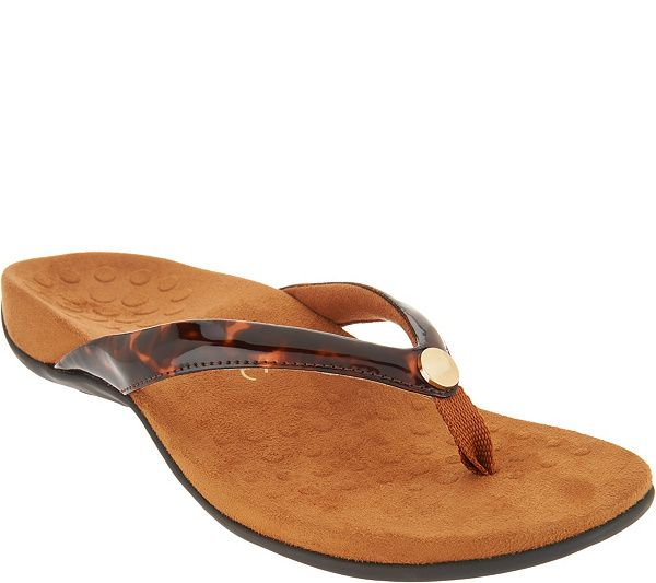 b879a9c82cf965 Step out in summery style without sacrificing support in these  podiatrist-designed thong sandals with a bright button detail. From Vionic(R).  QVC.com