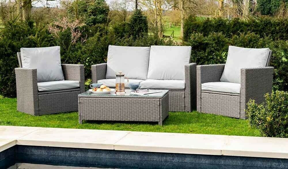Details About 4 Piece Rattan Set Table Sofa 2 Chairs Garden Outdoor Furniture Grey Grey Rattan Garden Furniture Outdoor Garden Furniture Outdoor Furniture Sets