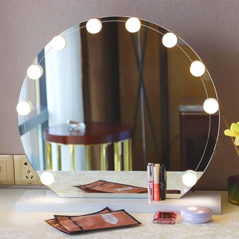Makeup Mirror Led Lights 10 Vanity Light Bulbs Bathroom Diy Led Vanity Us 29 98 Mirror Lamp Makeup Vanity Lighting Dressing Mirror