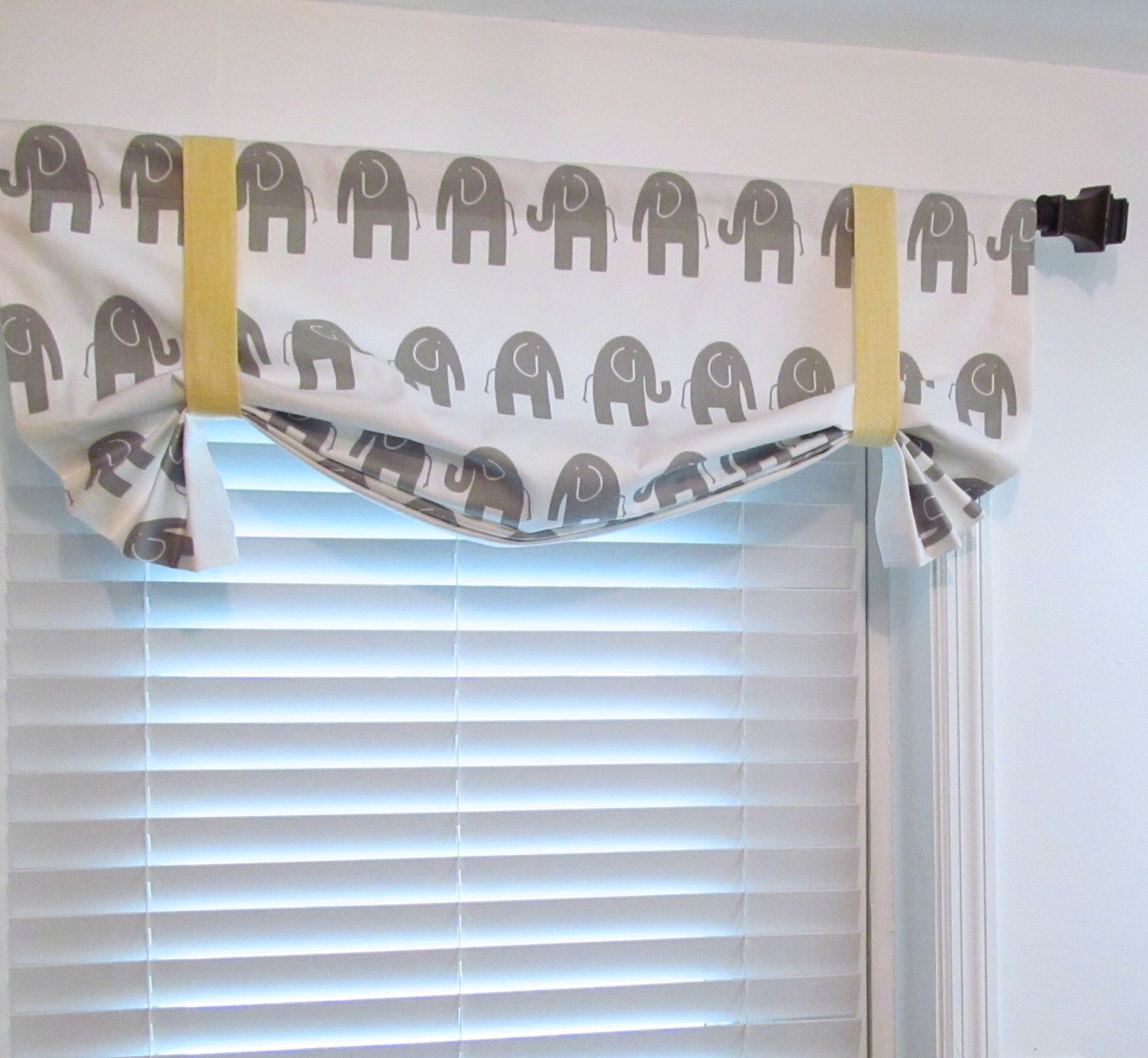 Yellow and gray nursery curtains - Kids Room Decor Gray White Yellow Elephant Valance Nursery Curtains Handmade In The Usa