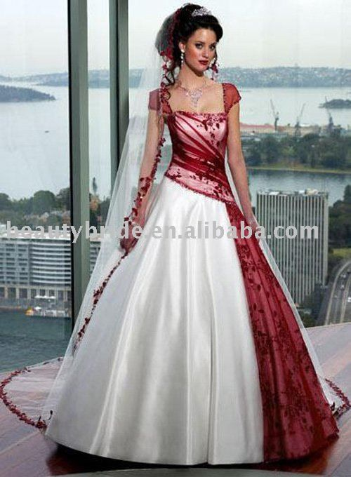 Inexpensive Cap Sleeve Ball Gown Corset Lace Red And White Wedding Bridal Dresses