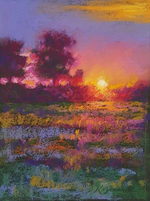 Vibrant Pastel Landscape Kath Dunne Oil Pastel Landscape Pastel Artwork Pastel Landscape