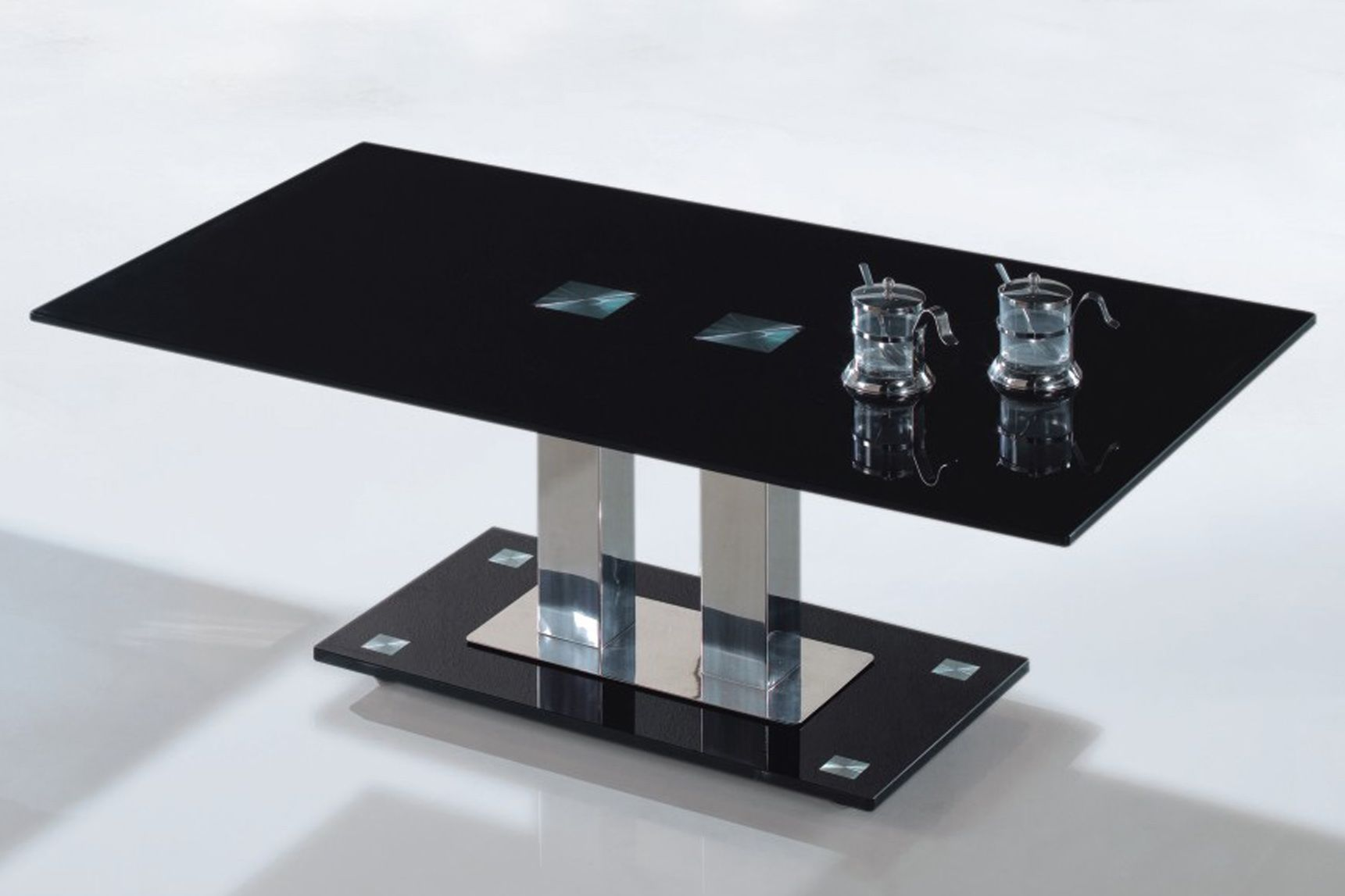 Black Glass Tables modern black glass coffee table, lignite modern black oak coffee