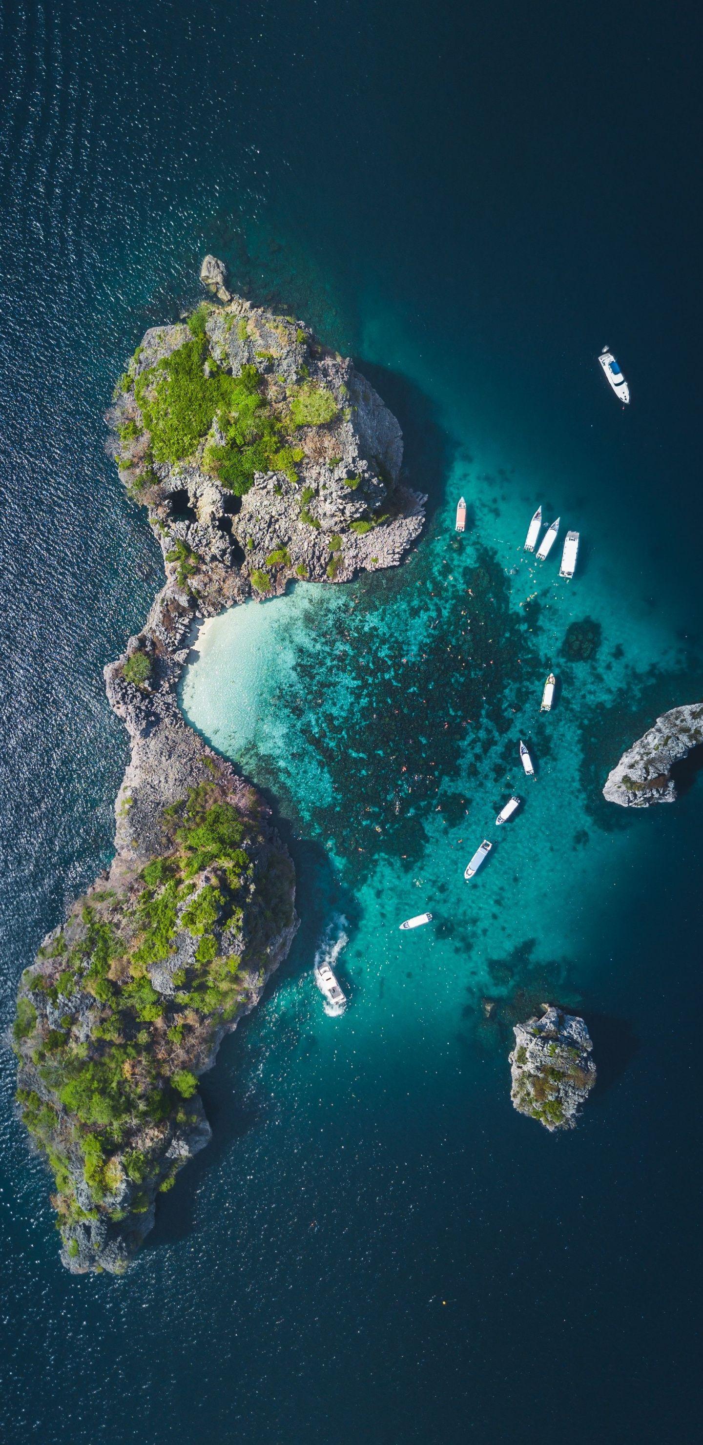 1440x2960 Island, ocean, tropical sea, aerial view