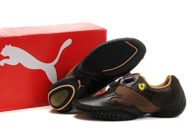 new styles d3d5e 1ef0e Men s Puma Leather Ferrari Shoes Brown Orange